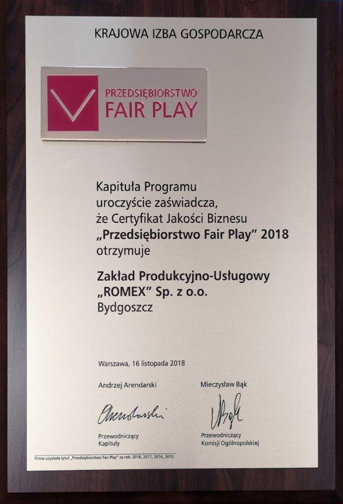 Złoty Certyfikat Przedsiębiorstwa Fair Play 2018