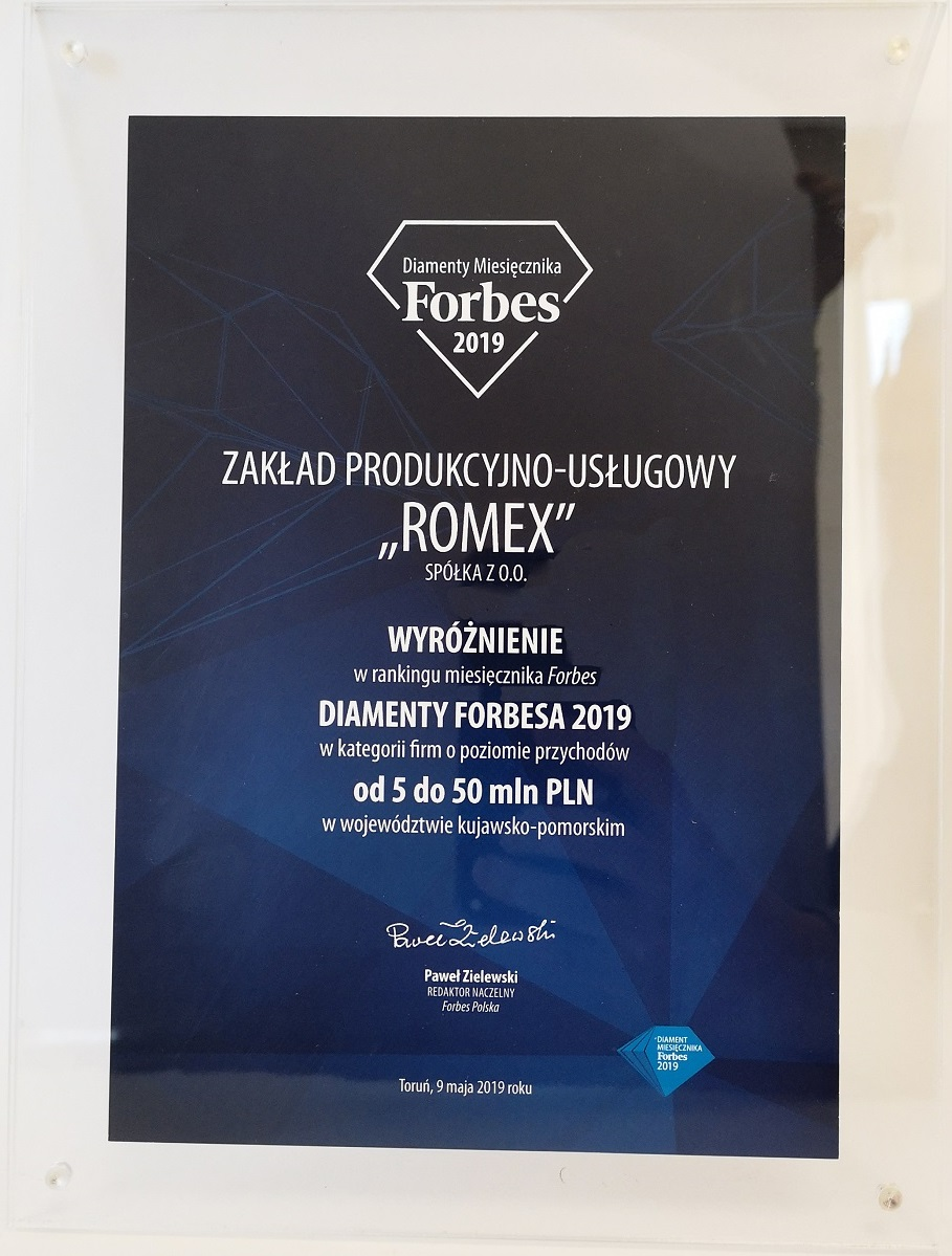 Diamenty Miesięcznika FORBES – wyróżnienie dla ZPU Romex Sp. z o.o.