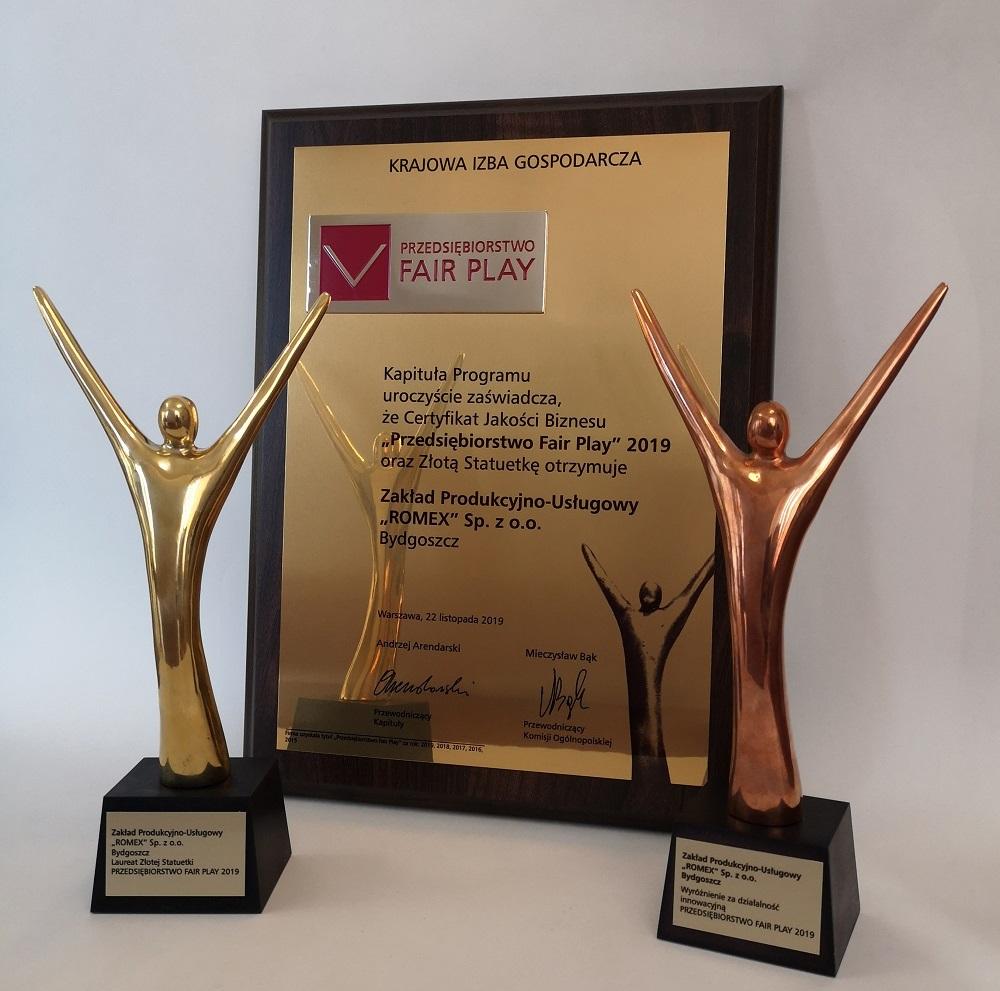 """Złota statuetka dla innowacyjnych przedsiębiorstw oraz certyfikat jakości biznesu """"Przedsiębiorstwo Fair Play 2019"""" dla ZPU Romex Sp. z o.o."""